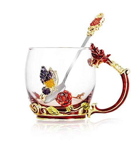 Tea Cup Coffee Mug Cups Clear Glass & Spoon Handmade Butterfly Rose ,12 oz (Rose)