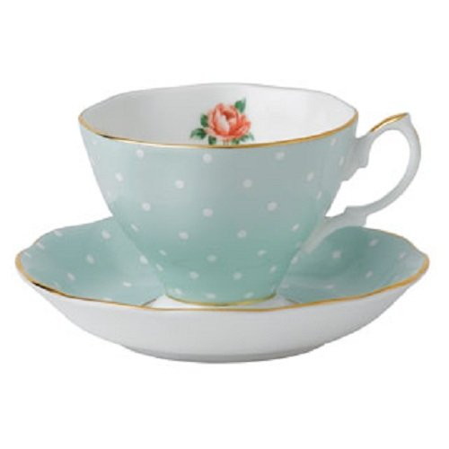 Royal Albert Polka Rose Formal Vintage Teacup and Saucer Boxed Set