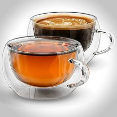 Anchor & Mill Double Walled Insulated Chinese Tea Cups for Espresso, Latte, Cappuccino, Thermo Glassware, 7 oz. (207 ml), Set of 2, Gift-boxed AM-09